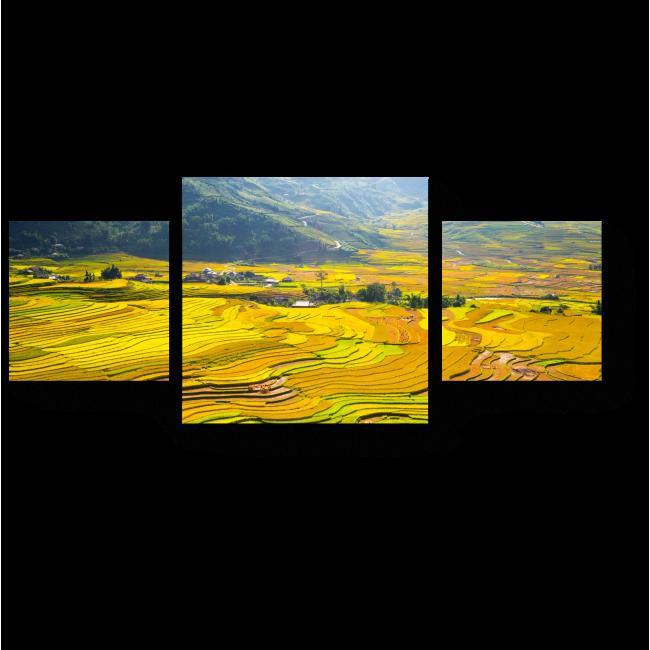 Модульная картина Рисовые поля у подножия гор Вьетнама