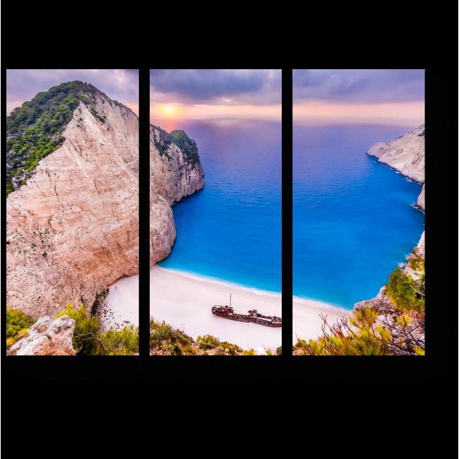 Модульная картина Закат на пляже Греции