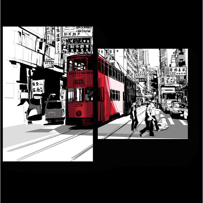 Модульная картина Один день из жизни Гонконга