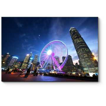 Модульная картина Сверкающее колесо обозрения, Гонконг