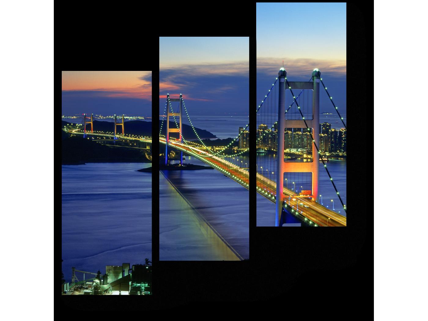 Модульная картина Невероятный вид на ночной мост Гонгконга (60x64) фото