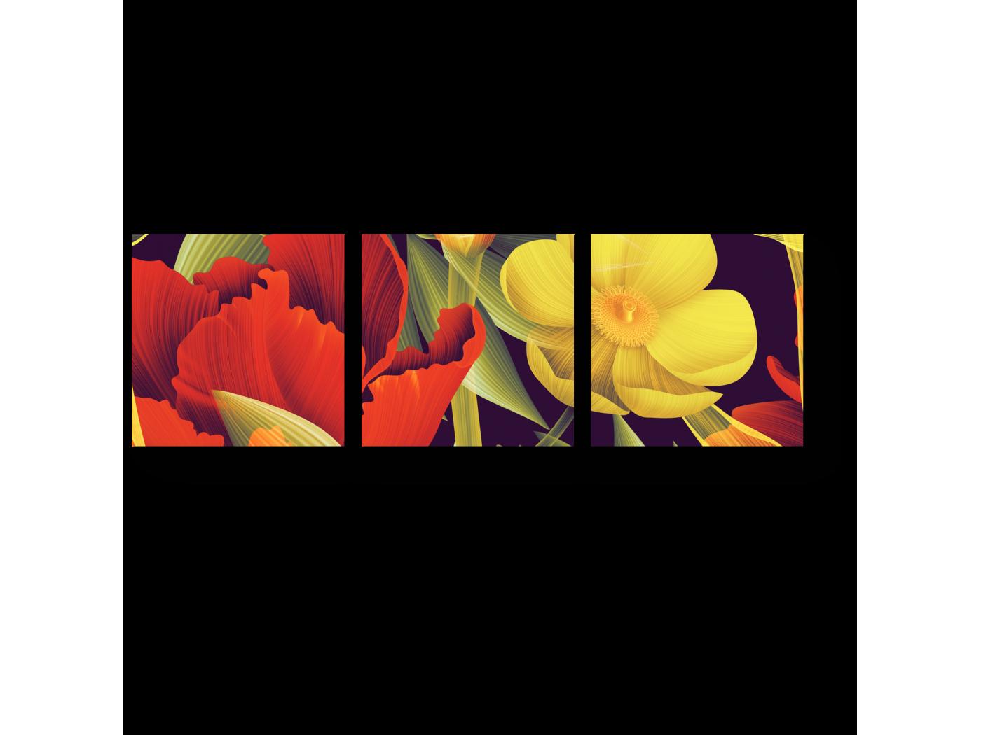 Модульная картина Необычные тропические цветы (60x20) фото