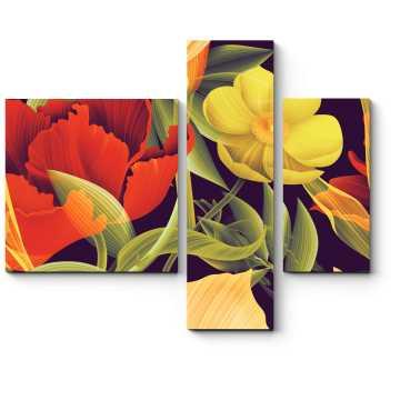 Модульная картина Необычные тропические цветы