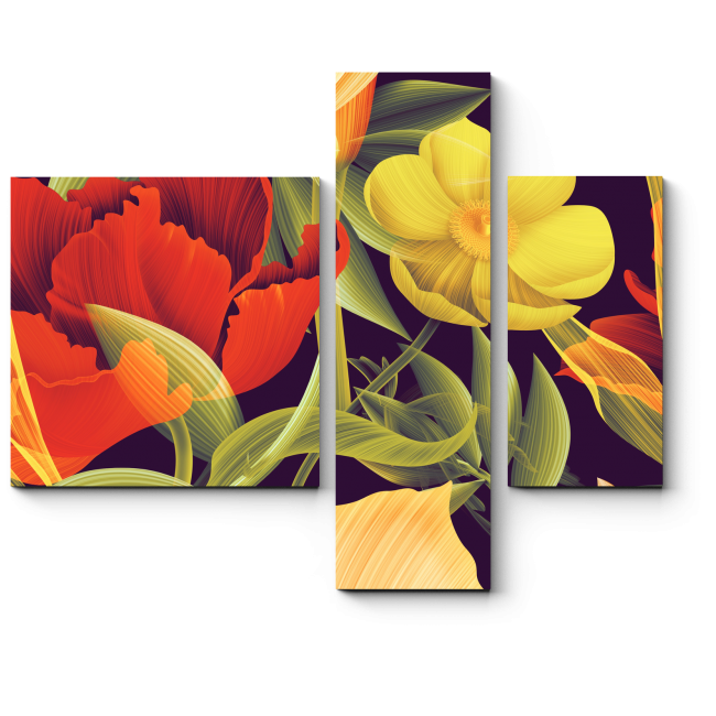 Модульная картина Тропические цветы