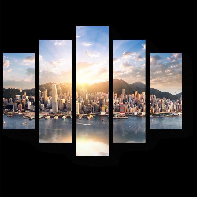 Модульная картина Небоскребы Гонконга на фоне великолепного заката