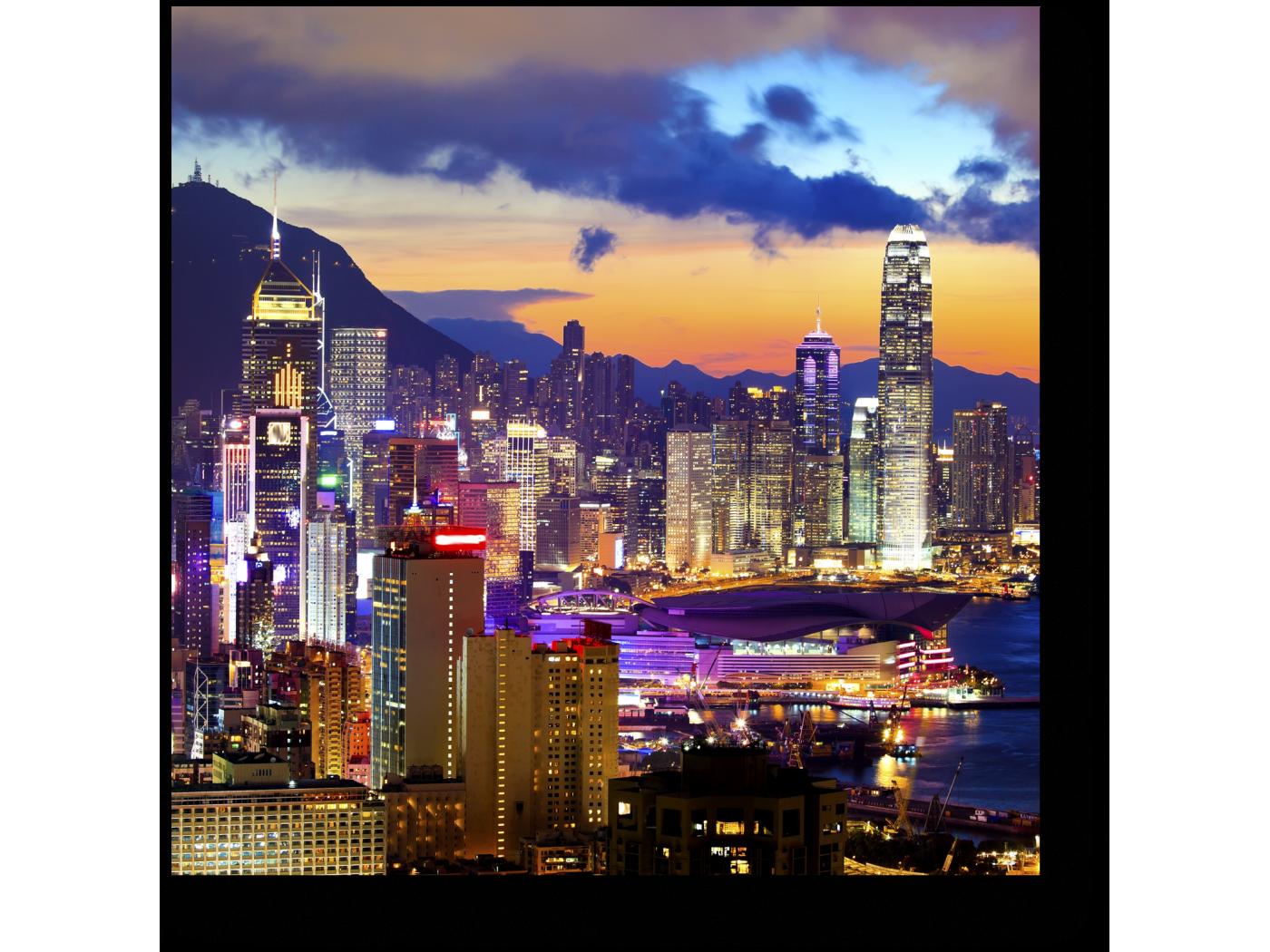 Модульная картина Красочный Гонконг в лучах закатного солнца (20x20) фото