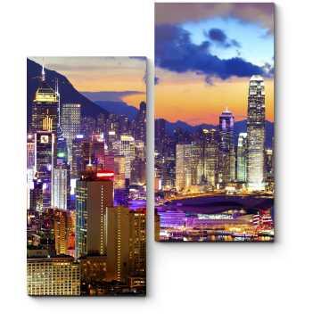 Модульная картина Красочный Гонконг в лучах закатного солнца