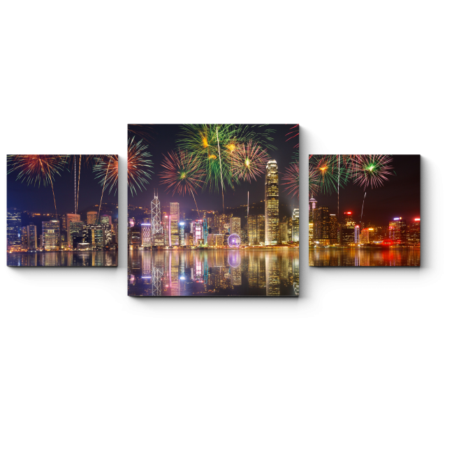 Модульная картина Сверкающий салют над бухтой Гонконга