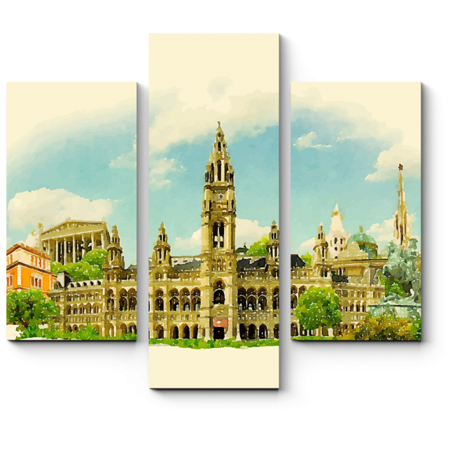 Модульная картина Величественная панорама Вены