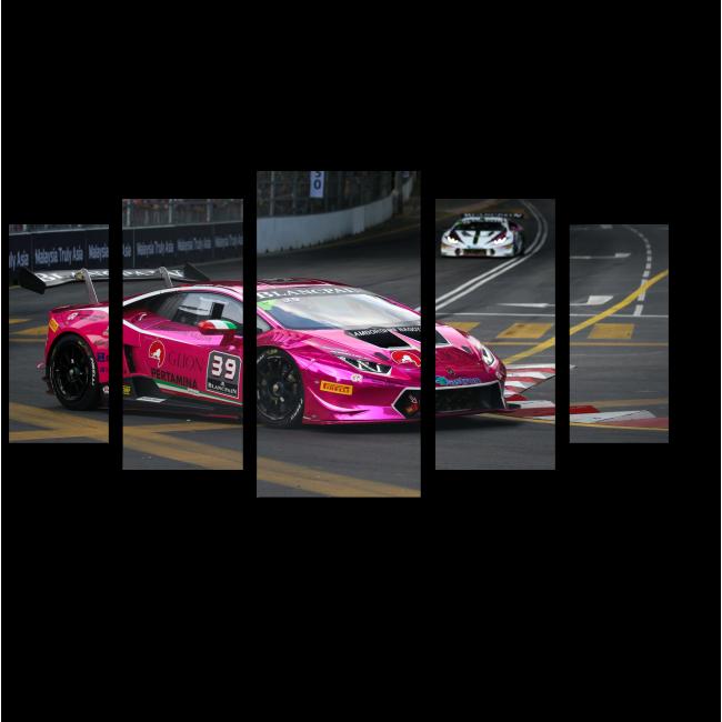 Модульная картина Ламборгини в гонках
