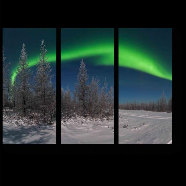 Модульная картина Неповторимая красота северного сияния