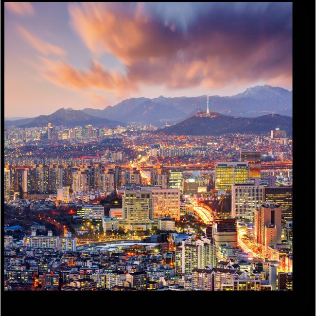 Модульная картина Панорама ночного Сеула