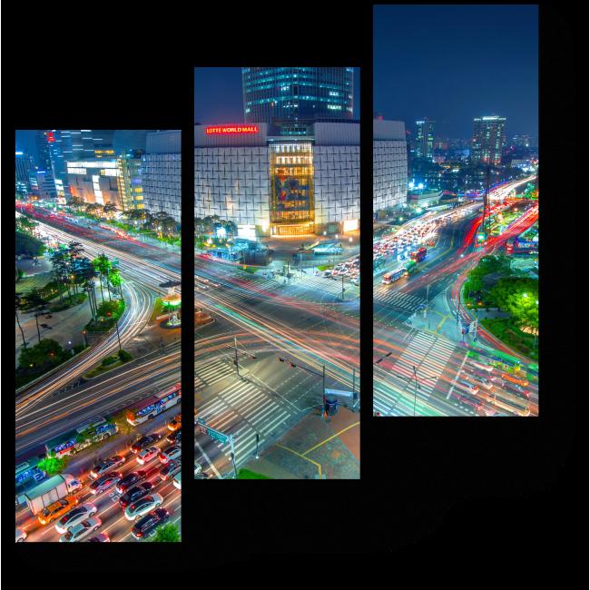 Модульная картина Сияющий в ночи Сеул