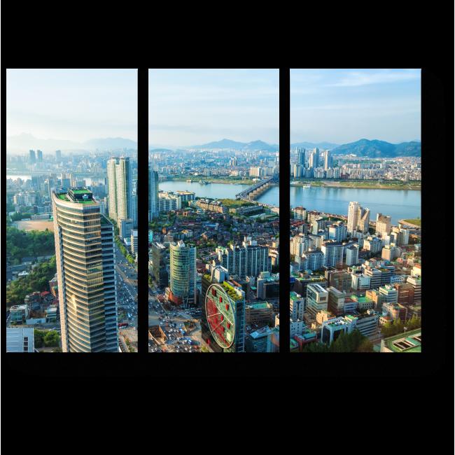 Модульная картина Пролетая над высотками Сеула