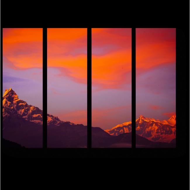 Модульная картина Оранжевый закат над гималайскими горами