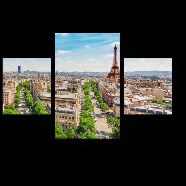 Модульная картина Вид на город влюбленных с Триумфальной Арки