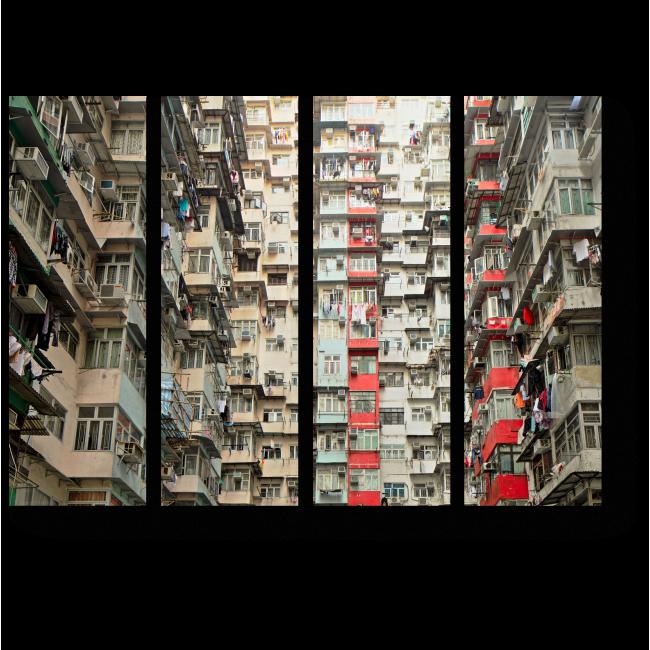 Модульная картина Многоквартирный дом, Гонконг