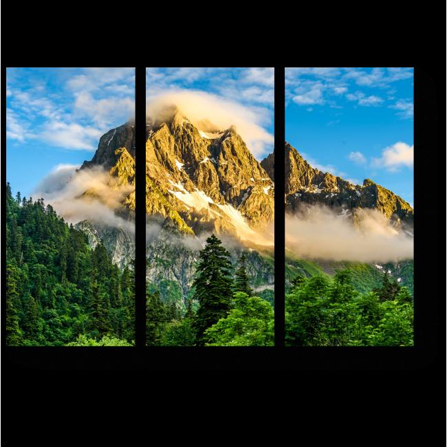 Модульная картина  Горные вершины в туманном ландшафте