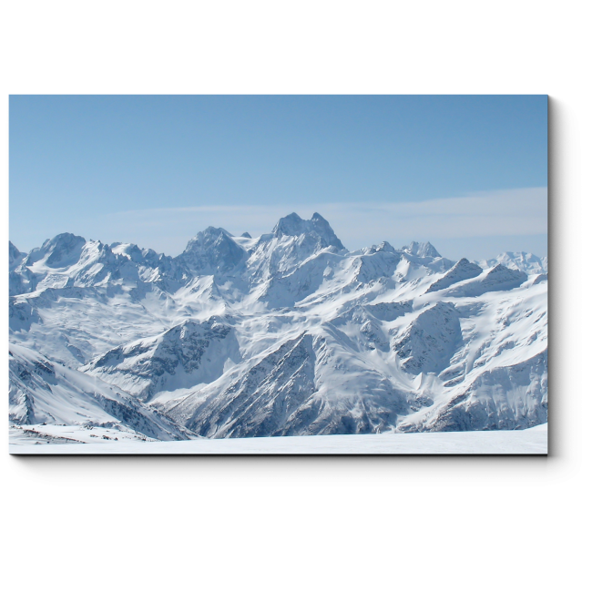 Модульная картина  Панорама зимних гор на Кавказе