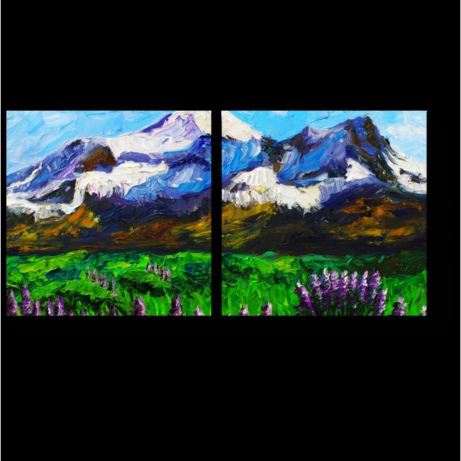 Модульная картина Горы, нарисованные маслом