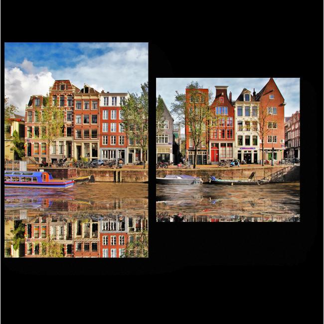 Модульная картина Зеркальная гладь канала, Амстердам