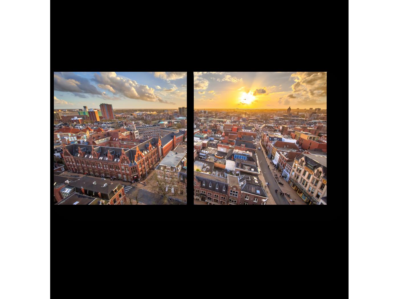 Модульная картина Чарующий Амстердам на закате. (40x20) фото