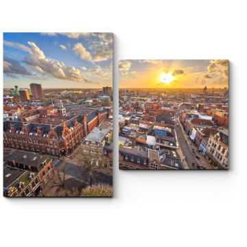 Модульная картина Чарующий Амстердам на закате.