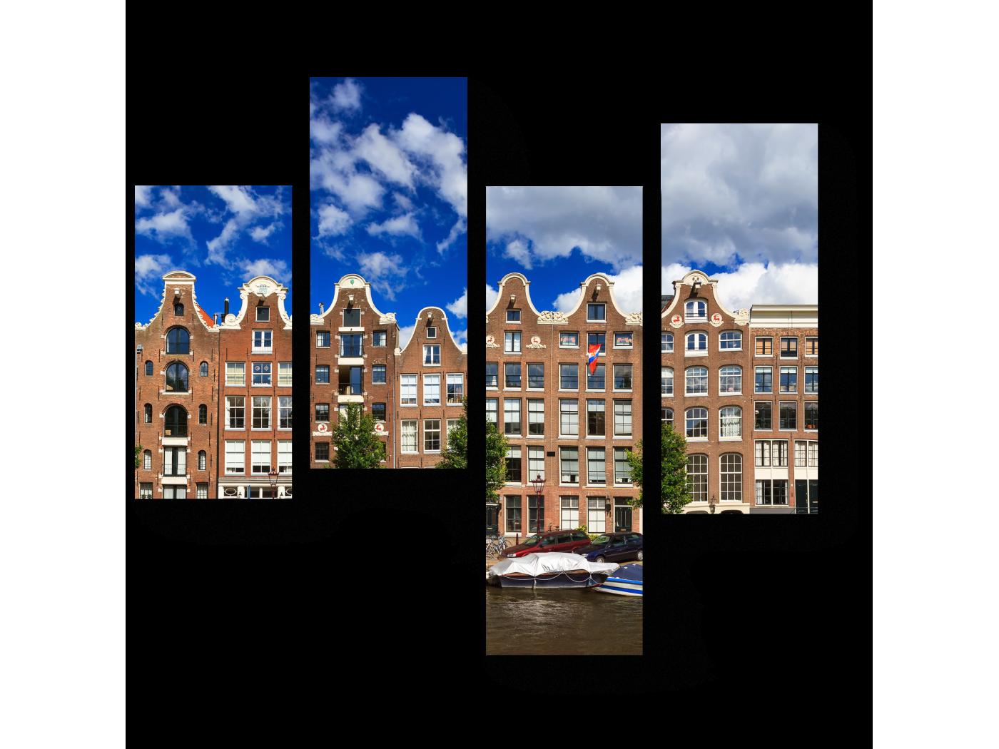 Модульная картина Отличный день для прогулки по каналам Амстердама (64x60) фото