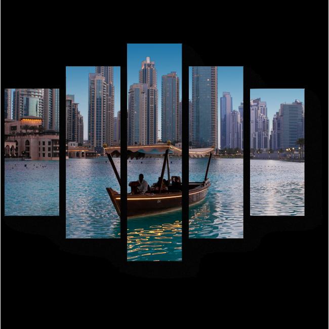 Модульная картина Плавание на деревянной лодке