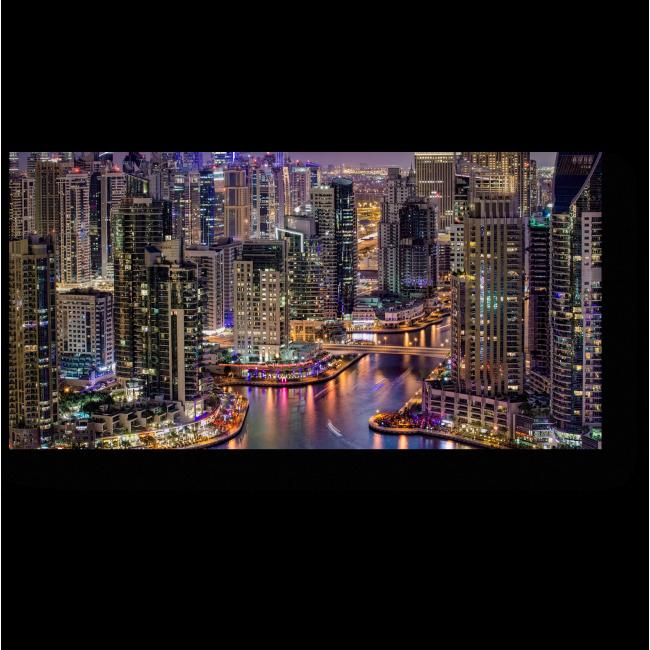 Модульная картина Ночной Дубай с высоты птичьего полета