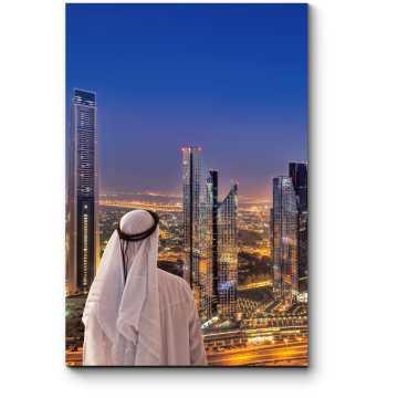 Модульная картина Созерцание ночного Дубая