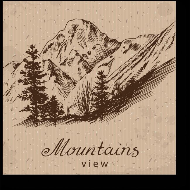 Модульная картина Монохромные горы