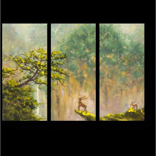 Модульная картина Олень на краю обрыва