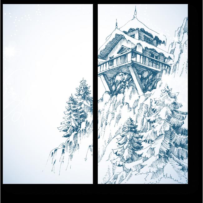 Модульная картина Дом на утесе