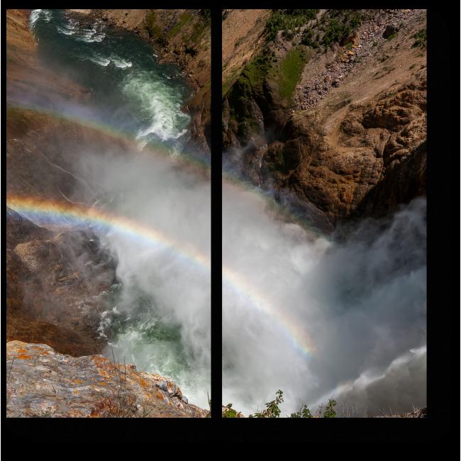 Модульная картина Радуга прячется в водопаде
