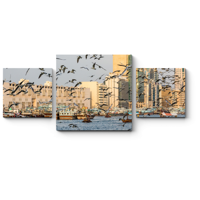 Модульная картина Чайки на над бухтой Дубая