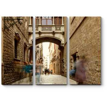 Модульная картина Узкая мощеная улочка Барселоны