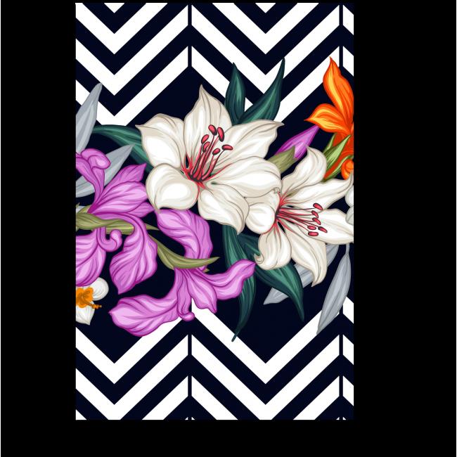 Модульная картина Цветы и зигзаги