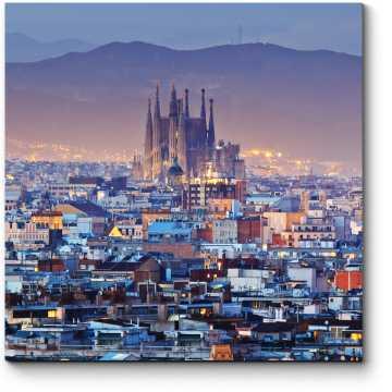 Модульная картина Величественная Барселона в сумерках
