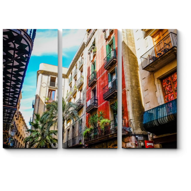 Модульная картина Исторический квартал солнечной Баселоны