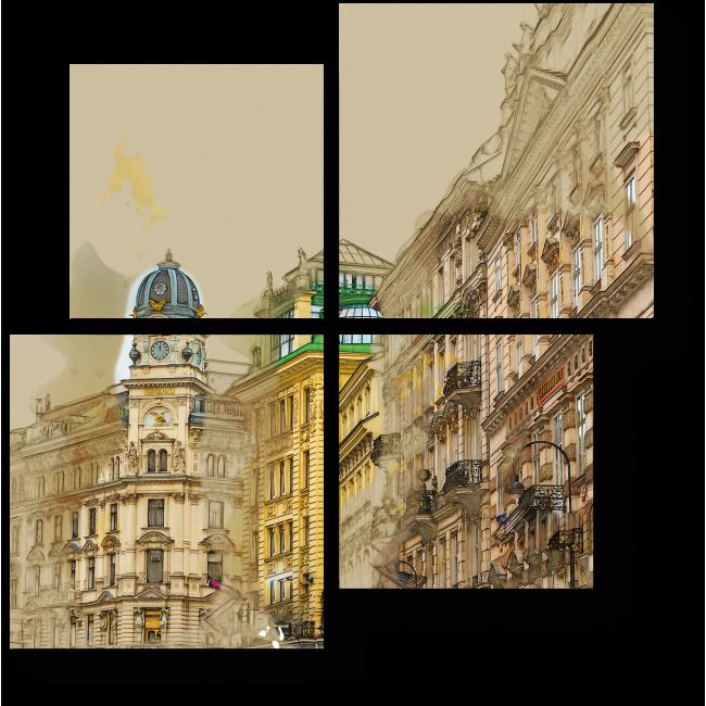 Модульная картина На старых улочках Вены