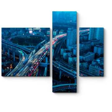 Модульная картина Ночь на эстакаде, Шанхай