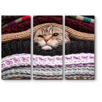 Модульная картина Кот готовится к зиме