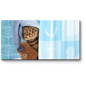 Модульная картина Котики тоже любят принимать ванну