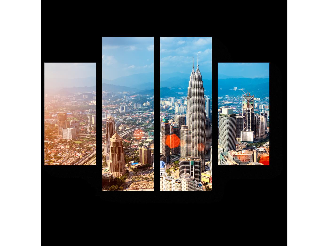Модульная картина Куала-Лумпур с высоты птичьего полета (80x60) фото