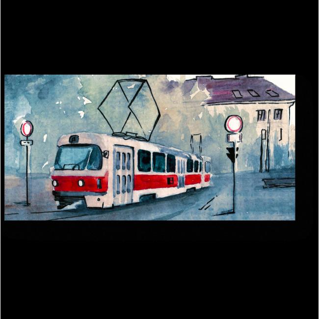 Модульная картина Акварельный трамвай