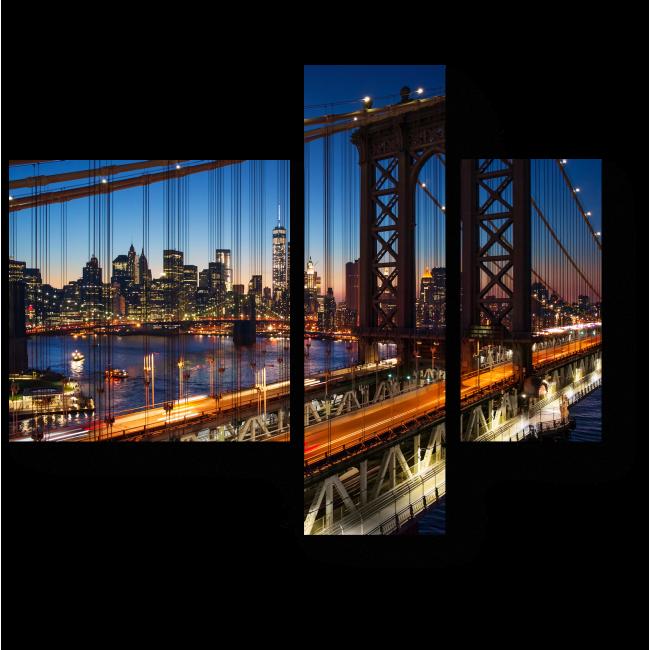 Модульная картина Огни ночного Манхэттена, Нью-Йорк