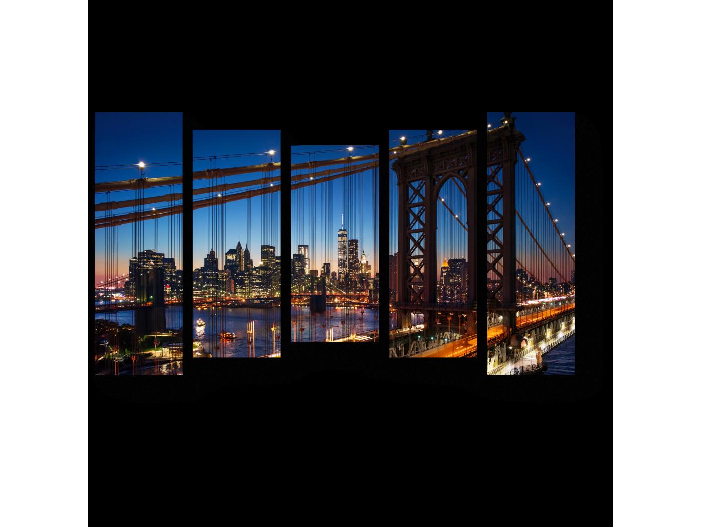 Модульная картина Огни ночного Манхэттена, Нью-Йорк (90x54) фото