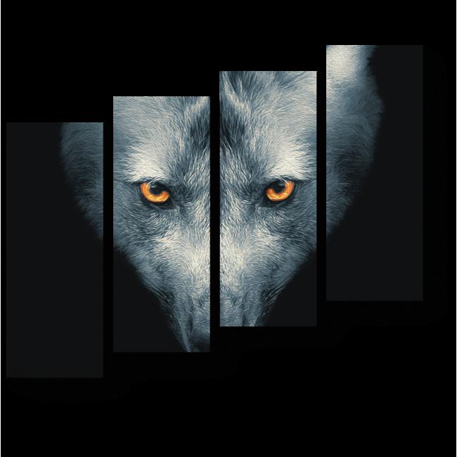 Модульная картина Портрет серого волка