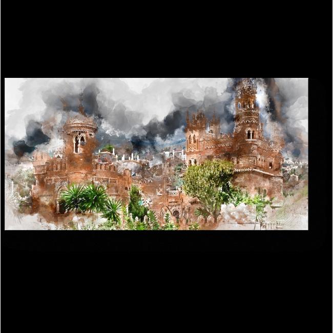 Модульная картина Акварельный рисунок замка Коломарес